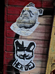 Street Art, New York, NY (Robby Virus) Tags: newyork newyorkcity ny nyc bigapple city manhattan aom lod more heroes paste pasted wheatpaste street art