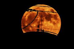 Watertank Moonrise (Dawnsview) Tags: moon fullmoon moonrise morning twilight tucson watertank arizona city dawnsview dawn light k5 sky outdoors nightsky nature night pentax view yellow orange brown powerline industrial
