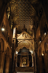 View from the east end (N'GOMAPHOTOGRAPHY) Tags: peterborough cathedral nightshoot night candles gothic masonry stonework woodwork carvings stainedglass window jesus cross crucifixion