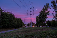 Pink clouds and moon (Erinn Shirley) Tags: erinnshirley fourmilerun fourmilerunbikepath pinkclouds sunset moon powerlines cyclist singlespeed outdoor road cars