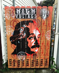 High Voltage by VoxxRomana (wiredforlego) Tags: graffiti mural streetart stencil urbanart fence portland oregon pdx voxxromana