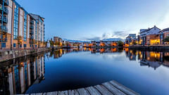 Panorama: The Shore, Leith (MilesGrayPhotography (AnimalsBeforeHumans)) Tags: architecture auldreekie autumn autostitch britain boats canon 6d canon6d 1635 canonef1635mmf4lisusm city cityscape dusk edinburgh eos ef europe evening f4l historic iconic landscape longexposure lens leith le waterofleith nd nighfall nd1000 10stopper nightscape outdoors photography panorama ptgui reflections river scotland skyline sky scenic shore town twilight bluehour uk unitedkingdom waterscape water