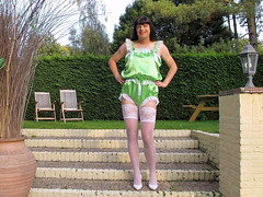 Outdoor satin teddy (Paula Satijn) Tags: sexy hot girl babe lady tgirl satin silk silky shiny teddy playsuit lingerie lace garden white stockings stockingtops legs pumps heels transvestite