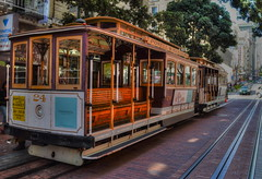 Romance Of The Rails (MPnormaleye) Tags: california wood city railroad travel urban woodwork 1930s track trolley seat cities wideangle trains transportation transit utata cablecar advertisements frisco arcane