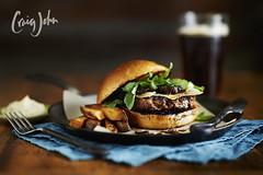 Grassfed burger with cave aged Evalon and arugula (Craig John*) Tags: food wisconsin photography nikon air milwaukee 250 d3 d1 profoto
