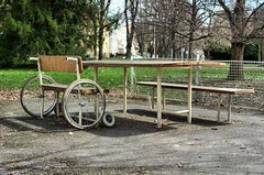 Wheelbench (Jumpin'Jack) Tags: park city trees green grass bench lens table prime pair wheels mounted maribor onit witha samyang35mmf14