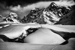 crevasse (TroyMasonPhotography) Tags: blue blackandwhite bw white snow storm cold ice weather alaska clouds freezing glacier mountaineering hunter mckinley crevasse mtmckinley radiotower basecamp rmi denail kahiltna k2aviation kahiltnaglacier mthunter mountainclimb snowbridge thehighone rainiermountaineering troymasonphotographycom alpineseminar radiocontroltower rmiexpeditions