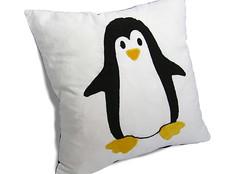 the penguin cushion (cernaovec) Tags: penguin handmade sewing cotton linux tux cushion sewn throwpillow