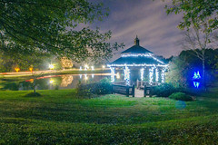 garden night scene at christmas time in the carolinas (DigiDreamGrafix.com) Tags: christmas trip travel winter light usa flower color reflection tree art nature beautiful beauty sparkles night garden season landscape evening design nice scenery shiny colorful warm tour charlotte gardening outdoor dusk landscaping path seasonal decoration lawn scenic illumination scene gazebo greenery shrub shining attraction illuminate
