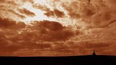 distances (LauraSorrells) Tags: november sky statue sepia rural kentucky horizon grace holy retreat christianity contemplative trappist 2012 favoriteplace lightplay gethsemani