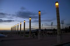 Montjuc lights (LunaticDesire) Tags: barcelona city sunset colors architecture cat spain nikon europe cityscape exterior bcn eu games catalonia area olympia 1992 olympic es dslr catalan nightfall montjuc espagna mnac d40