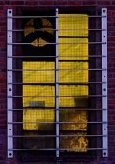 Forbidden Portal (Alvin Harp) Tags: oakland window oldbuilding bars yellowlight california sonyilce7rm2 teamsony sonya7rii fe85mmf14gm july 2016 alvinharp windowfan staircase stairs