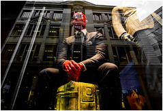 Red faced banker after Brexit !! (kevingrieve610) Tags: reflection window mannequin flickr fujifilm city london wow street pavement summer 2016 xm1 red yellow