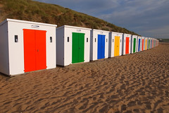 Woolacombe beach huts ! (chrisnormandale) Tags: beach huts colour summer sunshine devon street photography ricoh ricohgrd4 wwwchrisnormandalecom seaside