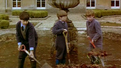 Chores (theirhistory) Tags: afeastatmidnight school boys uk boardingschool teachers foiuntain wellies fork spade uniform wellingtons leaves water