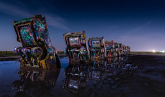 Cadillac Moon (txwhitacre - I think I'm back :)) Tags: cadillacranch cars mud reflections moonlight amarillo nikon d500 night