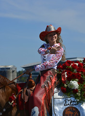 The Festival Of Roses (swong95765) Tags: woman beauty queen rider ride horse equestrian costume hat wave smile