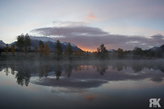 Misty Sunrise at Quarry Lake (ryan.kole32) Tags: canmore canmorealberta alberta canada canadianrockies rockies rockymountains sunrise quarry quarrylake lake reflection mirrorimage trees forest clouds orange sony sonya77 landscape nature beauty beautyinnature travel outdoors hiking peaceful calm serene serenity