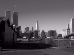 Never Forget (raymondclarkeimages) Tags: raymondclarkeimages rci 8one8studios usa neverforget mono blackandwhite ny sony cybershot monochrome september11th worldtradecenter newyork outdoor skyline buildings disaster skyscraper tallbuildings twintowers architecture brooklynpier landscape