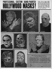 Hollywood Masks, 1965 ad (Tom Simpson) Tags: famousmonsters famousmonstersoffilmland mask horror halloween frankenstein wolfman werewolf dracula gillman monster costume 1965 1960s