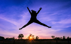 two stars (JimfromCanada) Tags: girl play jump bounce trampoline sun sunset evening summer fun action joy ontario canada child young
