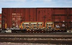Fela (quiet-silence) Tags: graffiti graff freight fr8 train railroad railcar art fela boxcar autoparts cn canadiannational cna795163