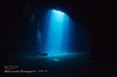 Into Darkness (DRoofing163) Tags: sea water blue light italy ocean black dark rays italia darkness underwater diving cave mare scuba acqua nero luce grotta raggi oscurità mediterranenan subaqcueo