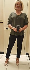 JCP Dressing room (krislagreen) Tags: tg transgender transvestite cd crossdress slacks heels patent top blond dressingroom femme feminized feminzation