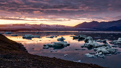 Sunset at Jkulsrln Glacier Lagoon (deborahmoynihan) Tags: jkulsrln glacier glacierlagoon iceland sunset ice icebergs water sky clouds moutains travel nikond7200 tamron1024mm hdr aurorahdr landscape outdoor serene peaceful ngc
