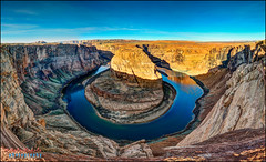 Horseshoe bend (hakoar) Tags: view pattern gravel landscape winter nature water formation panorama blue horseshoebend hdr sun vista colorful desert river page coloradoriver rocks life sky light dry highdynamicrange wilderness mountain arizona unitedstatesofamerica us