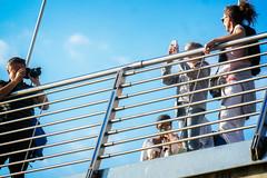 Cross Shoot (garryknight) Tags: jubileebridge lightroom london nx2000 ononephoto10 samsung southbank bridge camera footbridge girl man photographer woman