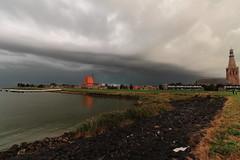 Tail Cloud above Medemblik (Harry Kool) Tags: medemblik onweer weer ijsselmeer weather thonderstom rain evening sunset sun noordholland westfriesland