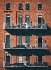Industrial Appartments (freyavev) Tags: brick bricks brickbuilding building facade shadows balconies windows orange red vsco zoom gothenburg gteborg sweden schweden sverige eriksberg canon canon700d