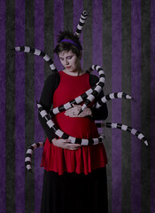 Day 3535 (evaxebra) Tags: halloween beetlejuice beetle juice lydia deetz snakes tentacles stripes striped red purple 33daysofhalloween 33days 365days haunted pregnant pregnancy maternity scary spooky