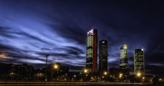 Madrid skyline (Renato Di Prinzio Fotografa) Tags: sky city sunset street travel blue night clouds europe urban architecture cityscape way building espaa spain skyline madrid windows aurora europa ciudad nubes luces afterglow rascacielos ventanas carretera edificios crepusculo