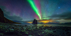 Dancing with dynosaurs (Sigurdur William Photography) Tags: northern light lights aurora borealis dark night sky star shine bright iceland canon 5dmark4 5dmarkiv arctic shots hvitserkur hvitserk landscape nightscape shore sand black distance epic dynosaur top20aurora