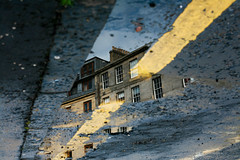 Do You Remember the First Time? (8) (Mrs.Black&White) Tags: edinburgh reflection puddle water rain newtown yellowline parking