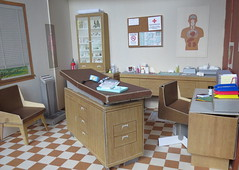Dr. Littlechap Office by Remco (Foxy Belle) Tags: remco 1960s littlechap doctor office dr john medical cardboard structure 16 scale diorama doll barbie vintage miniature dollhouse