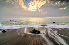 Silky waves @ (Vincent_Ting) Tags: light sunset sea sky seascape beach water clouds coast rocks waves taiwan   milky  silky
