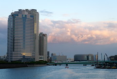 Sumida river from Aioi bridge (kana_hata) Tags: bridge building japan architecture river tokyo bridges sumidagawa sumida tsukishima chuo ohashi chuoku tsukuda shinkawa
