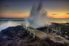 Big One (Pandu Adnyana (thanks for 100K views)) Tags: ocean sunset bali beach rock indonesia wave splash seseh