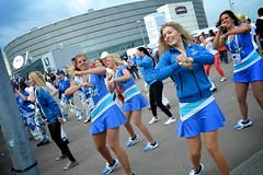 Cheerleaders dancing outside of the arena (anujanina) Tags: helsinki cheerleaders icehockey jkiekko worldchampionship hartwallarena mmkisat 2013 jkiekonmmkisat iihfworlds2013 iihfworlds iihfwc2013helsinki