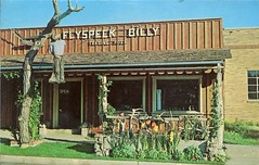 Flyspeck Billy Trading Post, Custer SD (SwellMap) Tags: vintage advertising death pc 60s dummies fifties postcard kitsch retro nostalgia crime chrome western murder violence amusementpark hanging americana deathvalley 50s tacky roadside dummy themepark sixties frontier midcentury lynching oldwest frontiertown effigies waxmueum