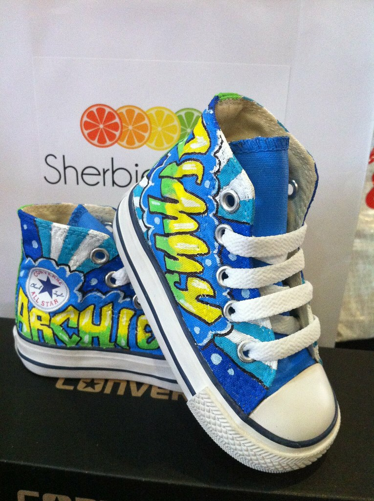39aadbd439c000 graffiti custom converse (Sherbie lemon) Tags  blue yellow graffiti toddler  converse custom sherbie