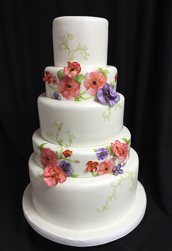 Watercolor painted flower wedding cake