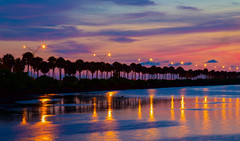 Tampa Bay Sunset (toddmwise) Tags: street longexposure trees light sunset sea summer sky cloud sun seascape motion blur reflection tree colors clouds sunrise canon reflections tampa lights bay sand highway flickr tampabay florida south palmtrees palmtree fl clearwater canon6d