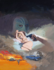 You Die Next, Jill Baby! by Will Hulsey, 1975 (Tom Simpson) Tags: willhulsey painting pulp pulpart vintage illustration youdienextjillbaby 1975 1970s woman bound nude tied bondage captured captive gun