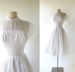 1950s Dreamland flower embroidered white dress, from Rappi (Small Earth Vintage) Tags: smallearthvintage vintageclothing vintagefashion dress 1950s 50s white voile floral embroidered rappi