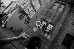Supposed to Burst (AH Photographix) Tags: bubble burst finger hand black white city marburg germany europe ahphotographix touch
