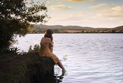 the girl at the lake (Gaia Li Mandri) Tags: woman girl paesaggio lake lago yellow dress clouds sunset water naked red hair nature natura capelli rossi tramonto nuvole nuvoloso vestito gialo piante acqua piede foot nymph ninfa ondine schiena back long lunghi